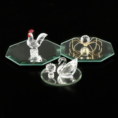 Swarovski Crystal Swan and Other Figurines on Mirrored Tableaus