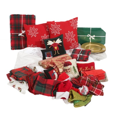 Christmas Table Linens, Coverlet, Pillows and More