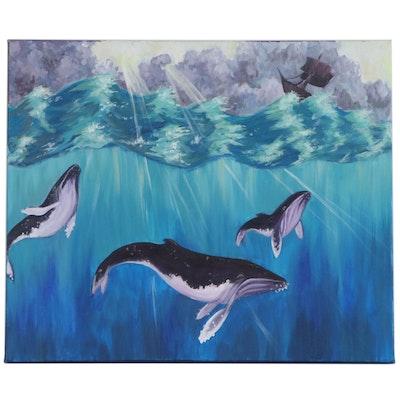 "Abby Gibson Acrylic Painting ""Marine Serenity,"" 2020"