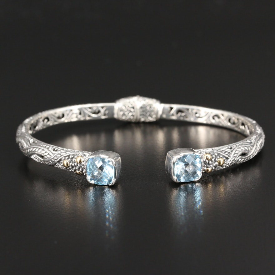 Sterling Silver Topaz Scrollwork Bracelet with 18K Accents