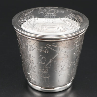 Tiffany & Co. Chased Sterling Silver Container, Late 20th Century