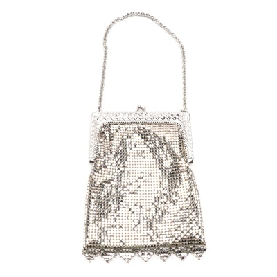 Whiting & Davis Embossed Frame Metal Mesh Evening Bag