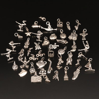 Assortment of Themed Sterling Silver Charms