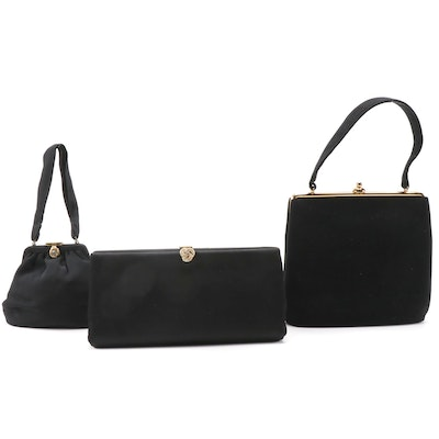 Harry Levine, Bag by Josef and More Black Textile Clutch and Handbags, Vintage