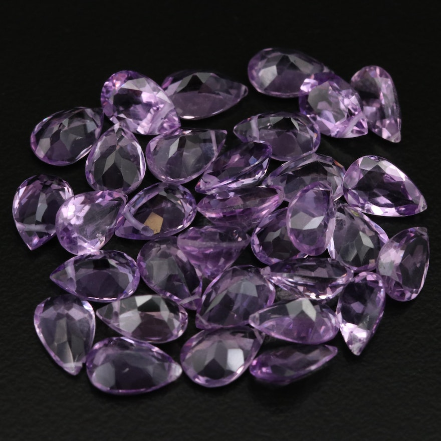 Loose 35.57 CTW Pear Faceted Amethysts