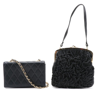 Zenith Navy Blue Quilted Leather Crossbody and Scrunch Pleat Black Leather Purse