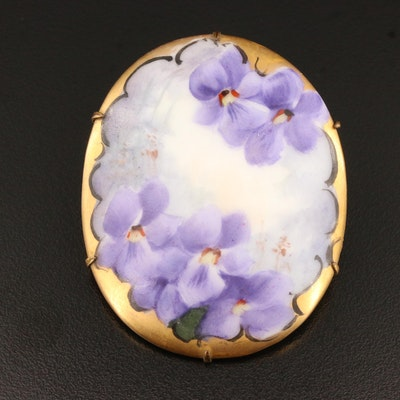 Vintage Painted Floral Brooch