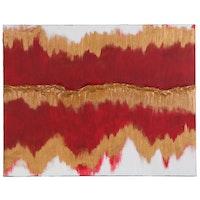 "Matthew Briede Mixed Media Abstract Painting ""Desert Sunrise,"" 2020"