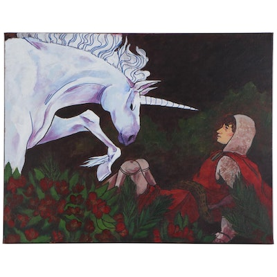 "Madeline Buroker Mixed Media Painting ""Sir Agravaine and the Unicorn,"" 2020"