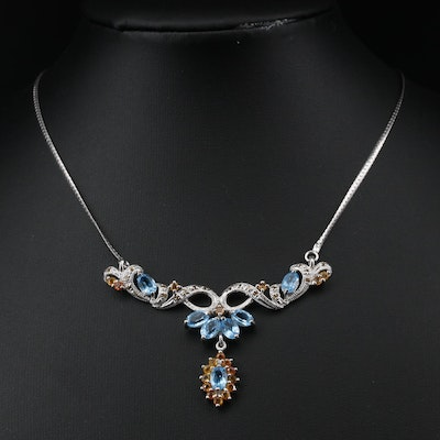 Sterling Silver Sapphire and Topaz Stationary Pendant Necklace