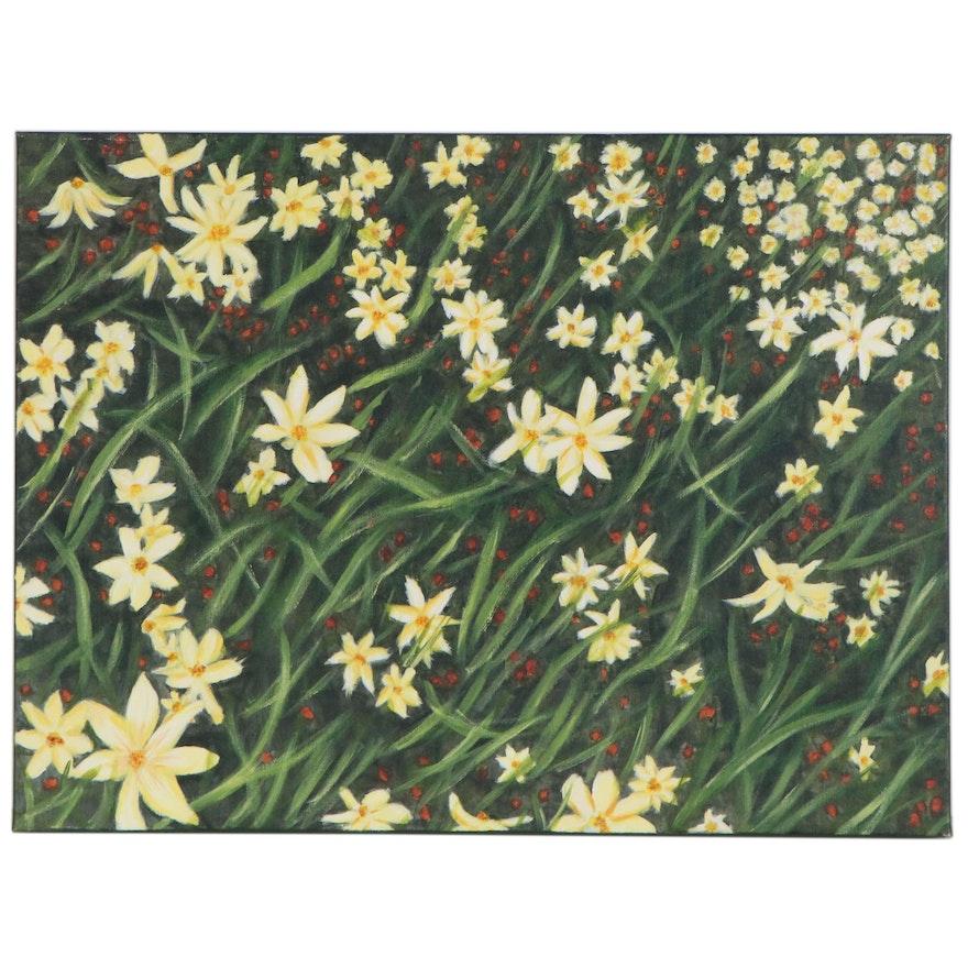 "Emma Hopkins Acrylic Painting ""Yellow Flowers,"" 2020"