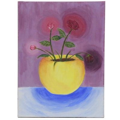 """An'Janae Thompson Acrylic Painting """"The Rose Cycle,"""" 2020"""