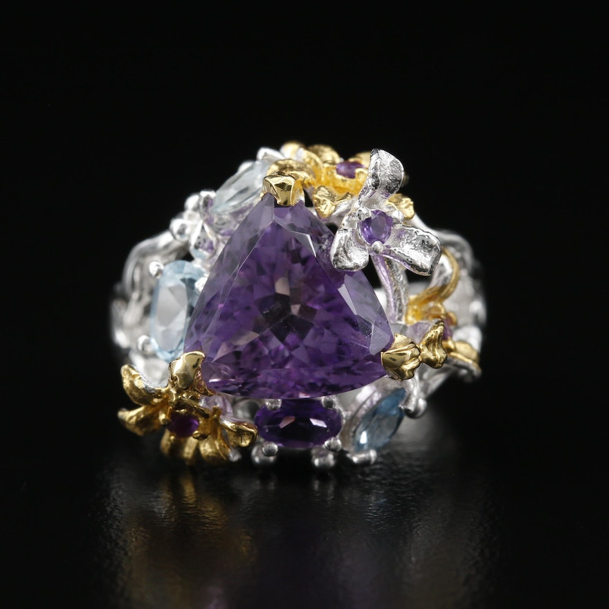 Sterling Silver Amethyst and Topaz Floral Ring
