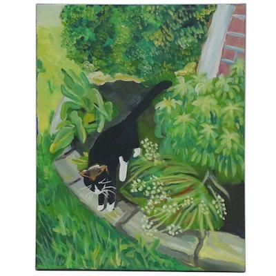 "Jennifer Baldwin Acrylic Painting ""Playing in the Garden,"" 2020"