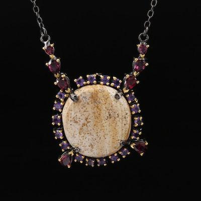 Sterling Silver Jasper, Garnet and Amethyst Stationary Pendant Necklace