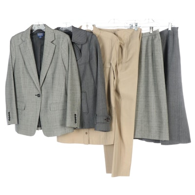 Women's Pendleton Silk Cotton Pantsuit and Wool Skirt Suits