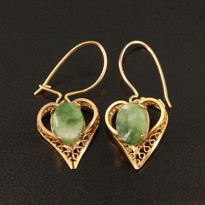 Nephrite Heart Filigree Earrings