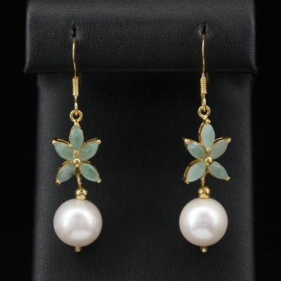Sterling Silver Beryl and Pearl Floral Motif Earrings