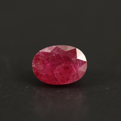 Loose 1.38 CT Oval Faceted Ruby