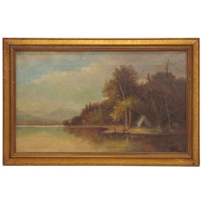 G. C. Perkins Riverside Encampment Landscape Oil Painting, Early 20th Century
