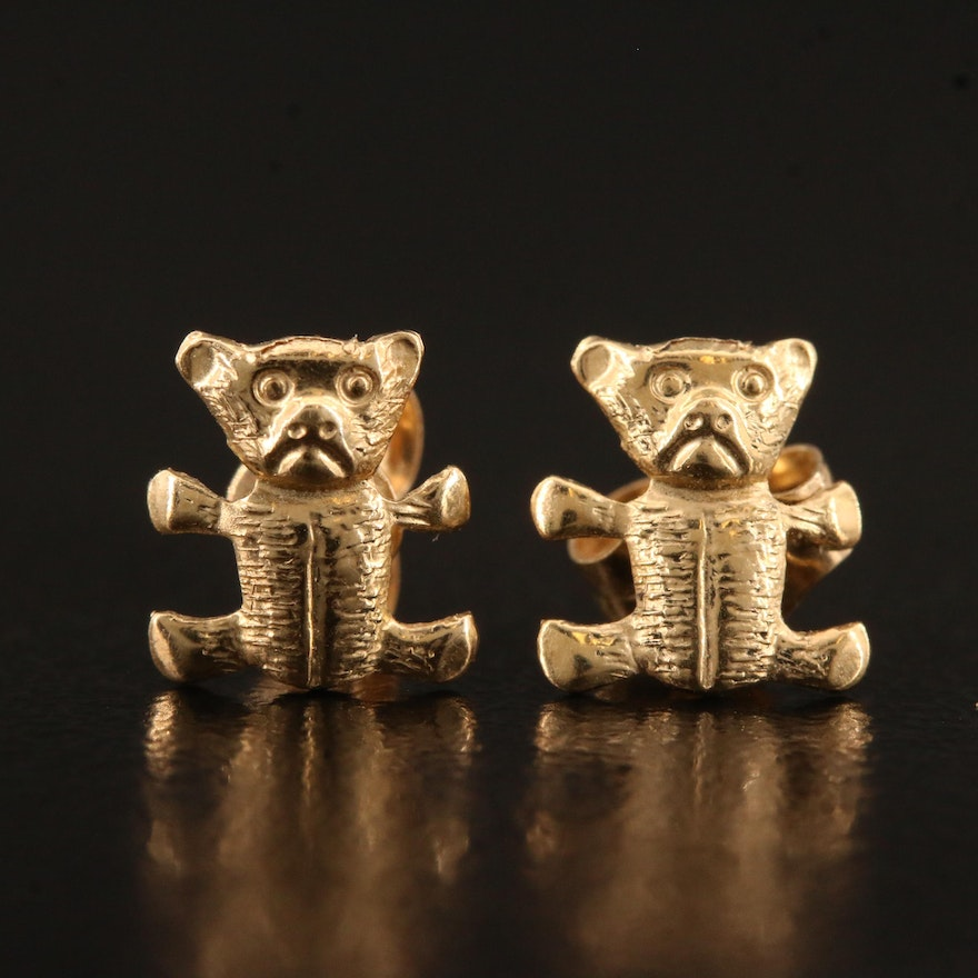 14K Teddy Bear Stud Earrings