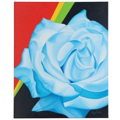 Deborah Bigeleisen Oil Painting of Blue Rose, 21st Century