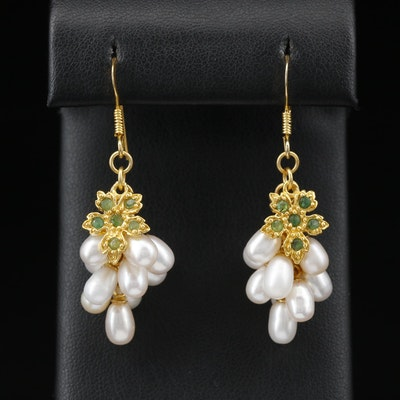 Sterling Silver Emerald and Pearl Grape Motif Dangle Earrings