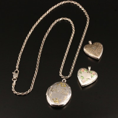 Sterling Locket Necklace and Heart Locket Pendants with Enamel and 14K Accents