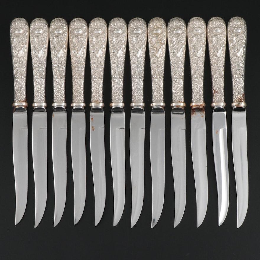 """S. Kirk & Son """"Rose"""" Sterling Silver Handled Steak Knives"""