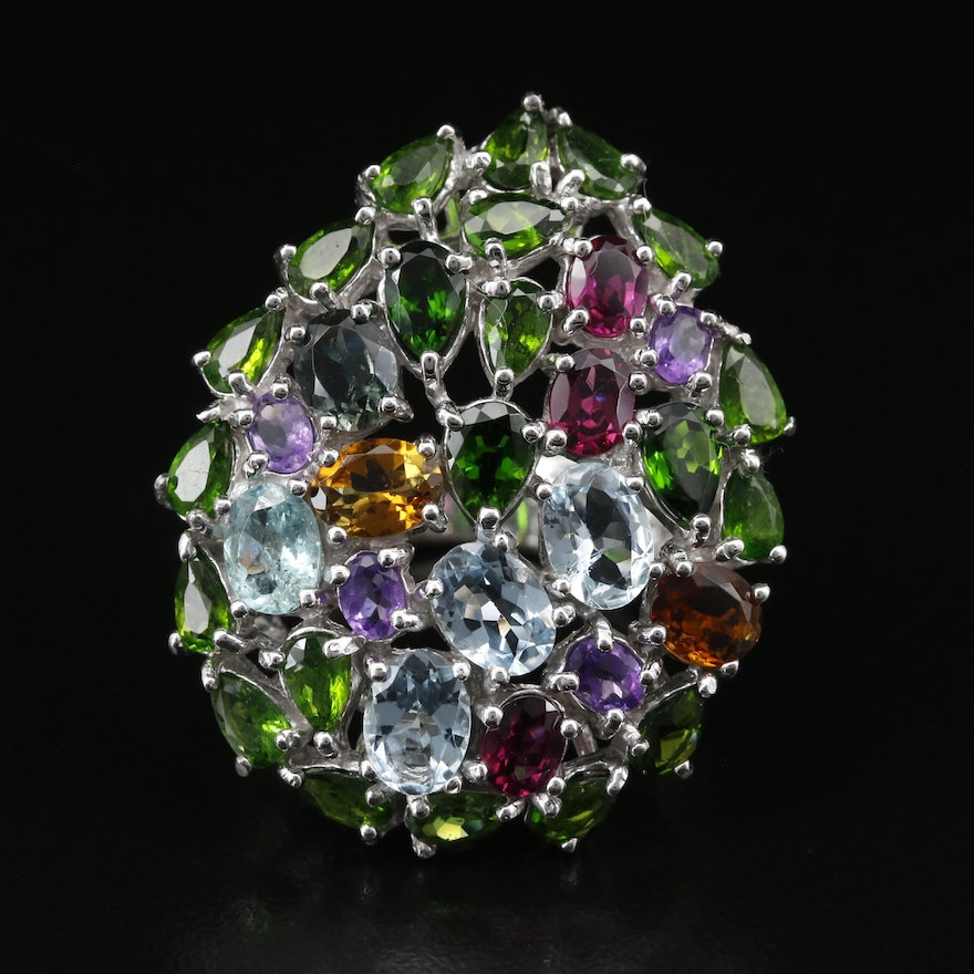 Sterling Silver Aquamarine, Diopside and Garnet Cluster Ring