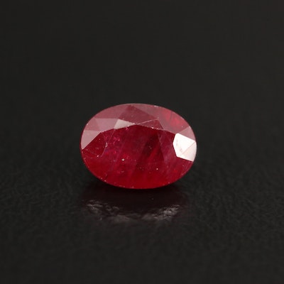 Loose 1.35 CT Oval Faceted Ruby