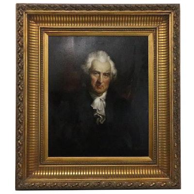 G. Serrure Oil Portrait Painting of 18th Century Man, Late 20th Century