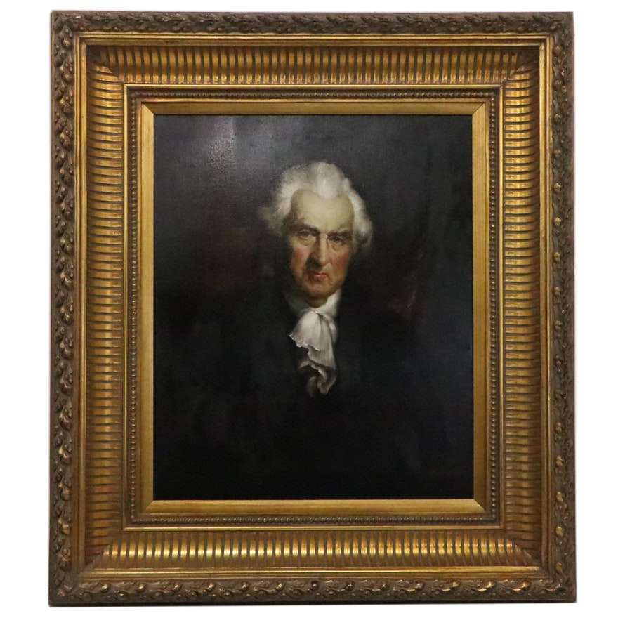G. Serrure Oil Portrait Painting of 18th Century Man, Late 20th Century