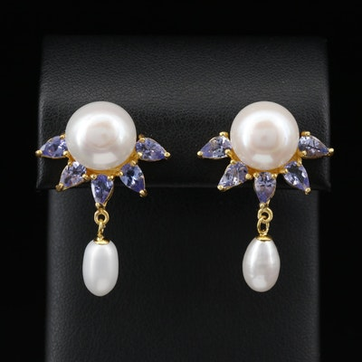 Sterling Silver Pearl and Tanzanite Dangle Earrings with Half Sun Design