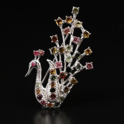 "Sterling Silver Tourmaline Peacock Pin with Ruby ""Eye"""