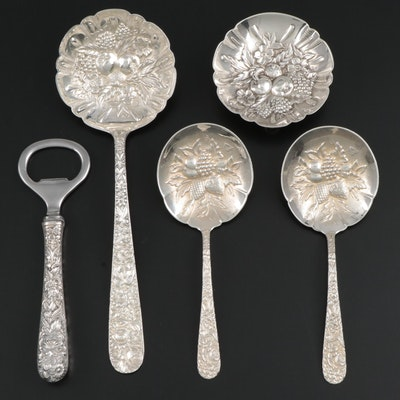 "S. Kirk & Son ""Repoussé"" Sterling Silver Berry Spoons, Dish and Bottle Opener"