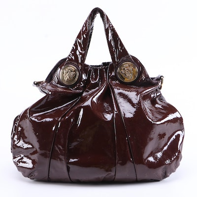 Gucci Hysteria Crest Patent Leather Hobo Bag in Aubergine