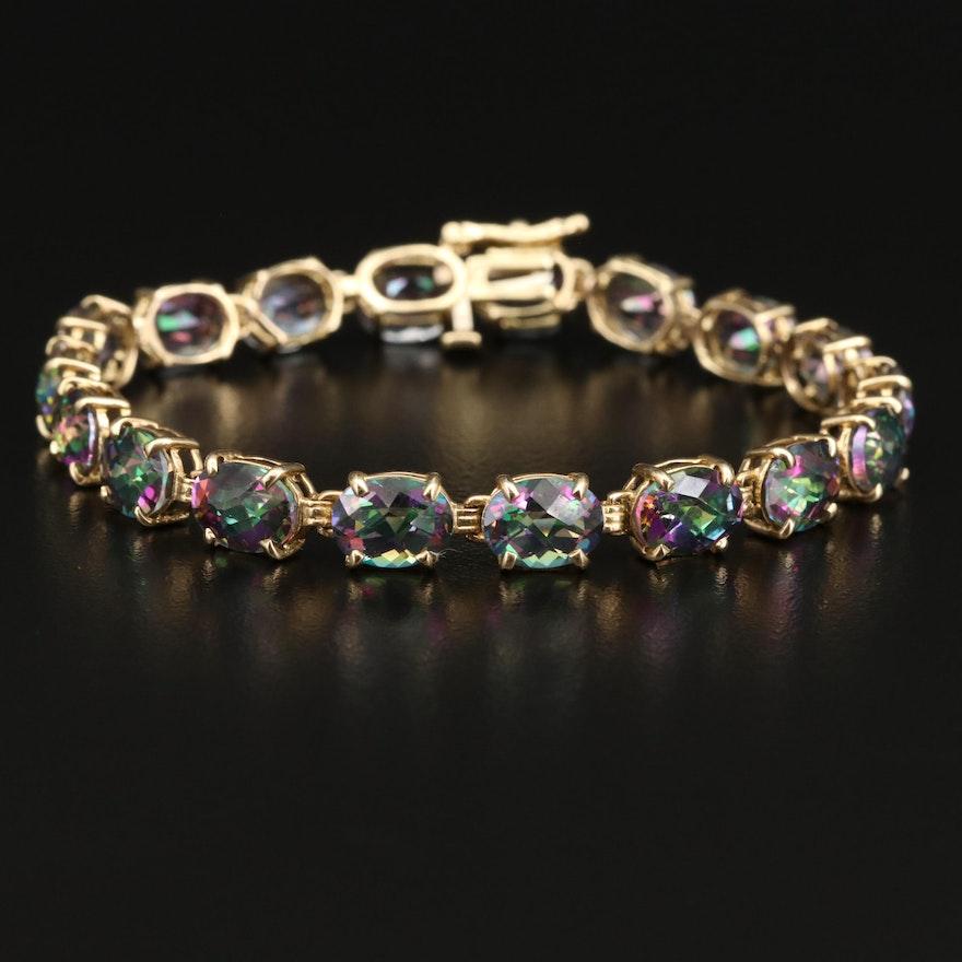 14K Mystic Topaz Line Bracelet