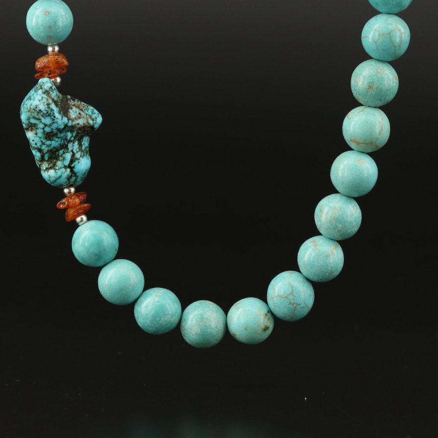 Magnesite and Copal Beaded Necklace with Sterling Silver Clasp