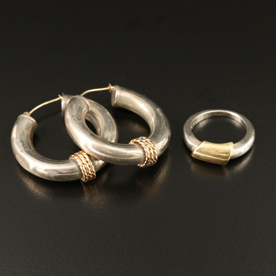 Sterling Hoop Earrings and Ring with 18K and 14K Accents