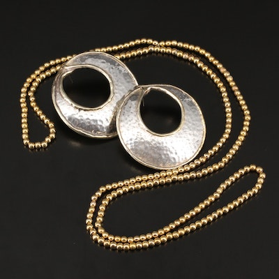 Sterling Silver Electroformed Earrings with Gold Tone Bead Necklace