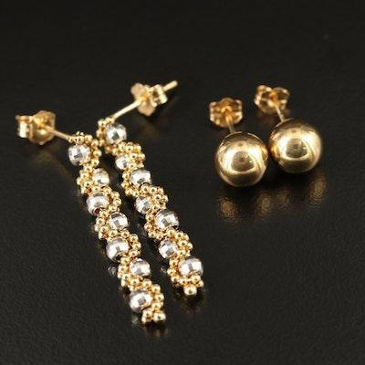 14K Dangle and Ball Stud Earrings