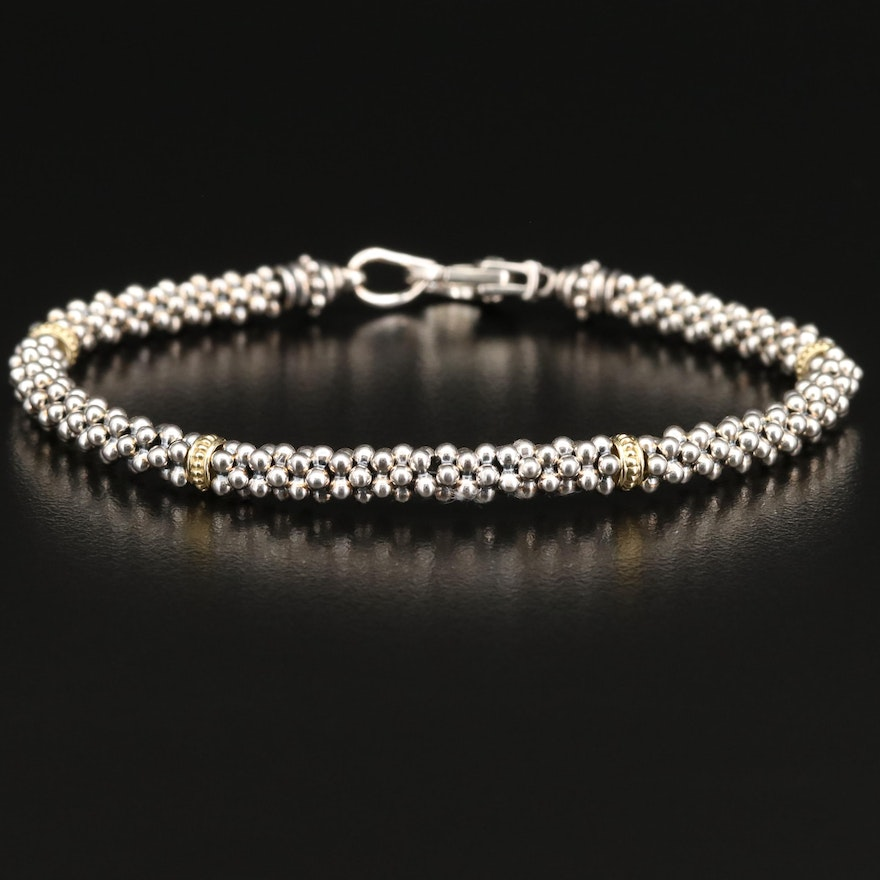 "Lagos ""Caviar"" Sterling Popcorn Chain Bracelet with 18K Accents"