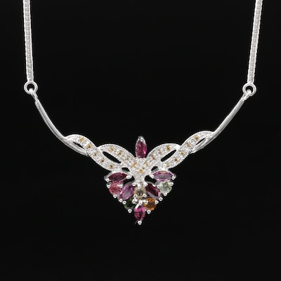 Sterling Silver Garnet, Citrine and Sapphire Stationary Pendant Necklace