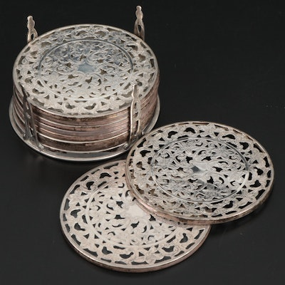 Webster Sterling Silver and Glass Openwork Coaster Set, Early to Mid 20th C.