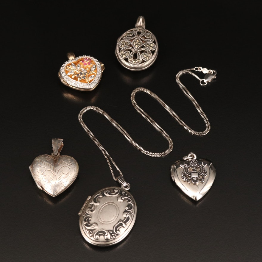 Sterling Silver Locket Necklace and Lockets Including Ruby and Sapphire