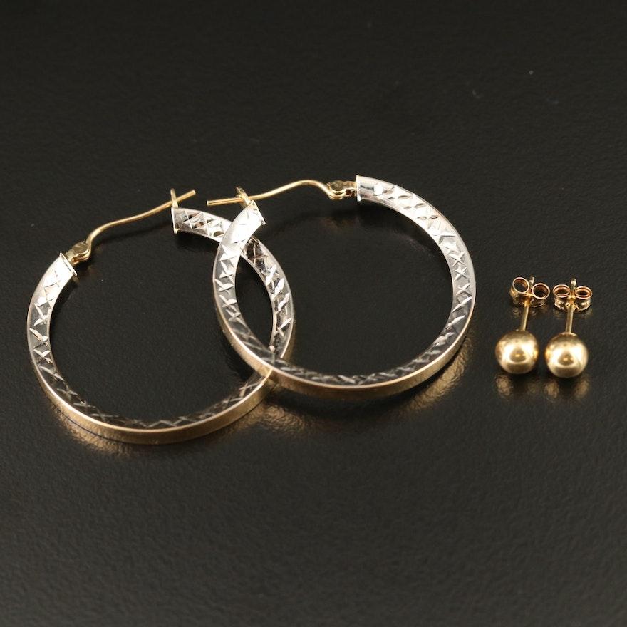 14K Two-Tone Diamond Cut Hoop and Sphere Stud Earrings