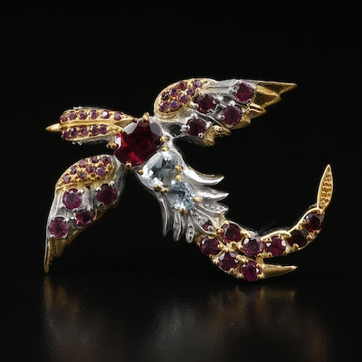 Sterling Silver Rhodolite Garnet and Aquamarine Bird Brooch