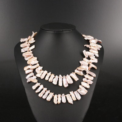Sterling Silver Pearl Double Strand Necklace