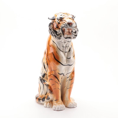 Italian Ceramic Bengal Tiger Statuette, Mid-20th Century